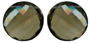 Smoky Quartz coin shape pair